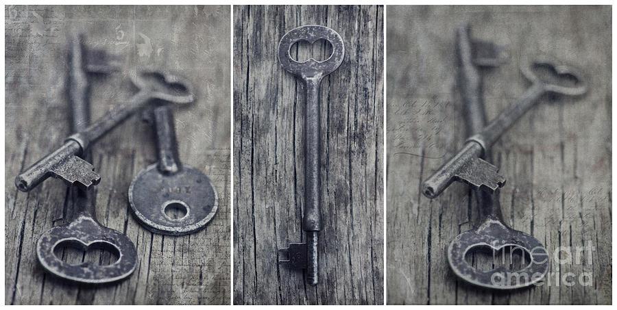 Keys Photograph - decorative vintage keys II by Priska Wettstein