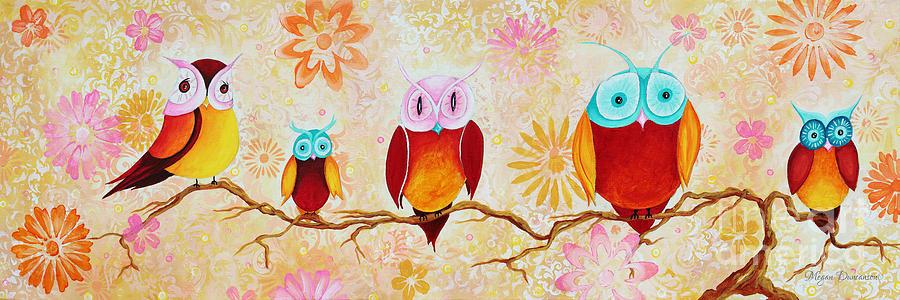 Owl Painting - Decorative Whimsical Owl Owls Chi Omega Painting By Megan Duncanson by Megan Duncanson