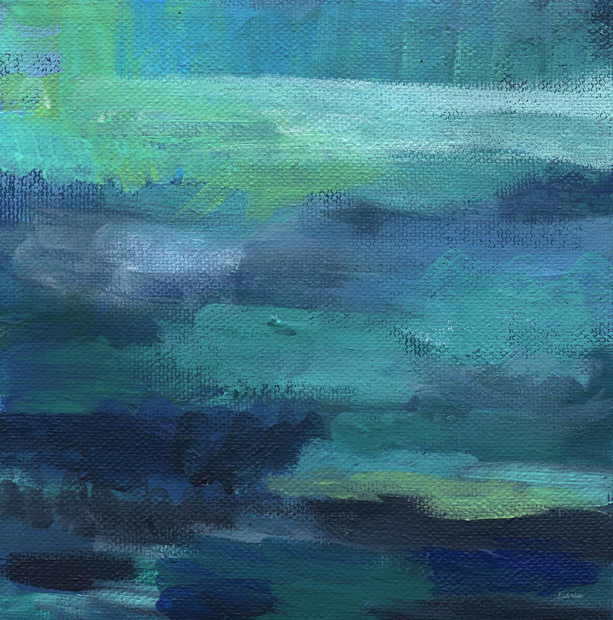 Blue Painting - Tranquility- Abstract Painting by Linda Woods