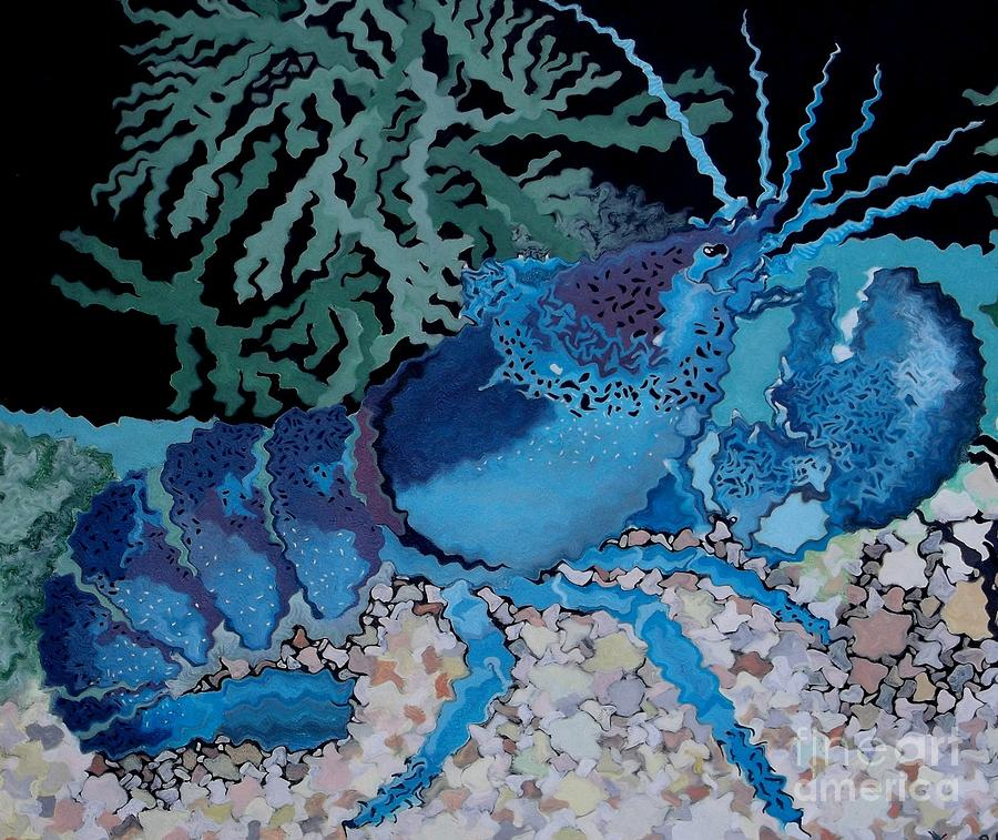 Lobster Painting - Deep Blue by Anthony Morris