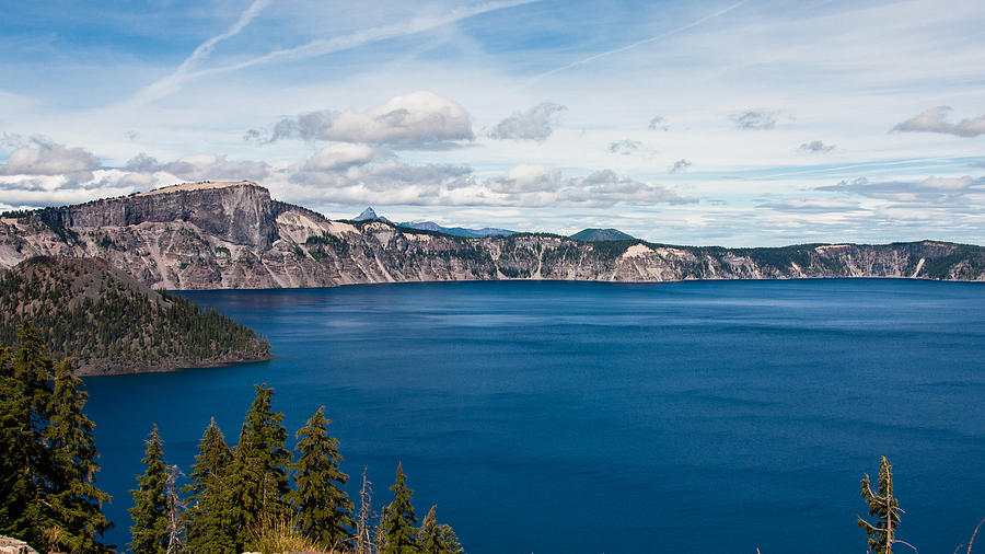 Crater Photograph - Deep Blue Crater Lake by Steve Pfaffle