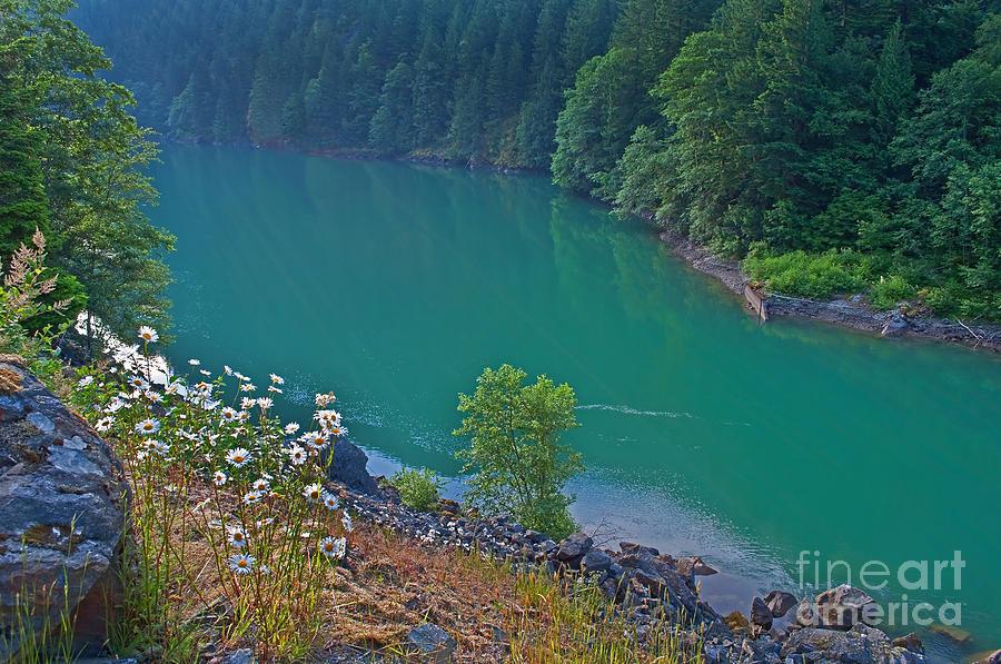 Aquamarine Photograph - Deep Green River Near Ross Lake Washington In Forest by Valerie Garner