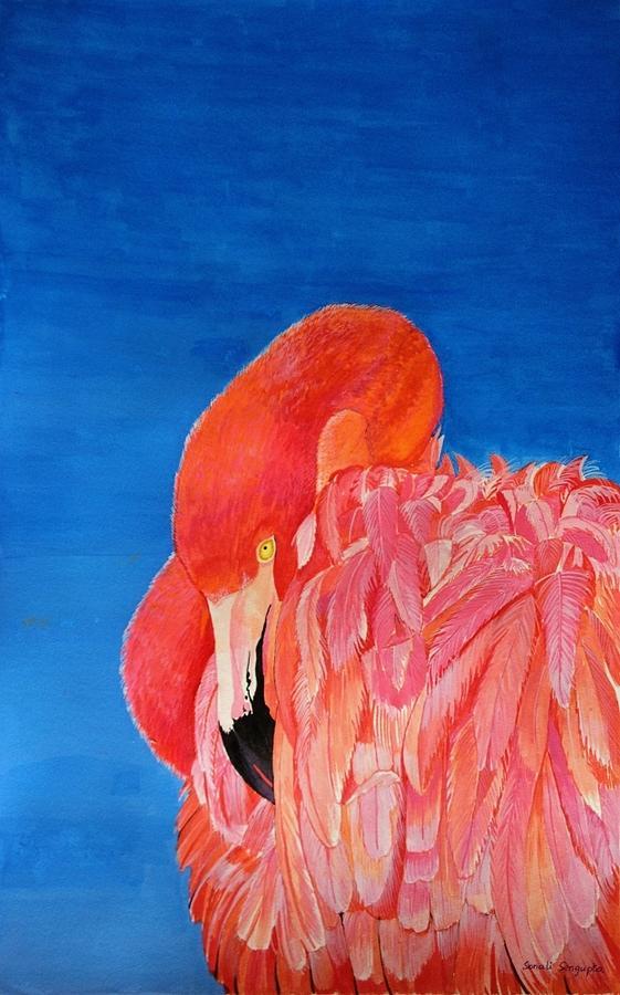 Flamingo Painting - Deep In Thought    by Sonali Sengupta