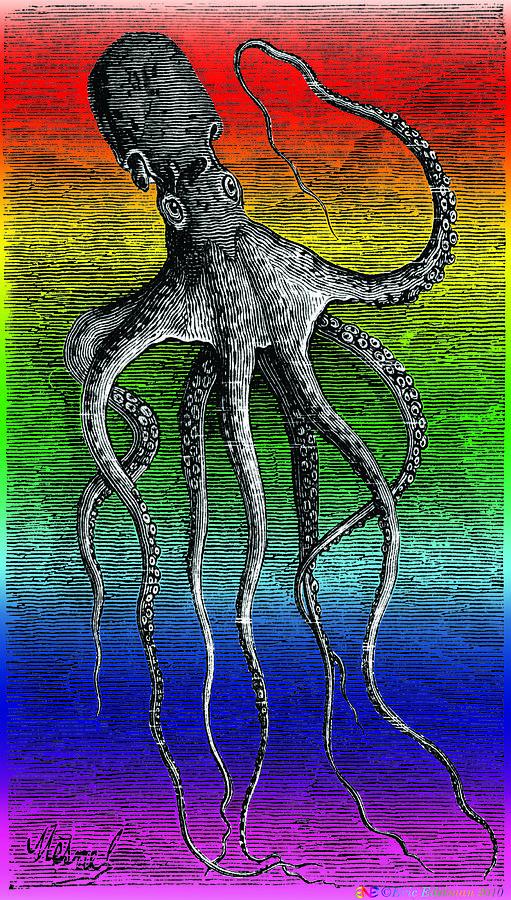 Octopus Digital Art - Deep Monster by Eric Edelman