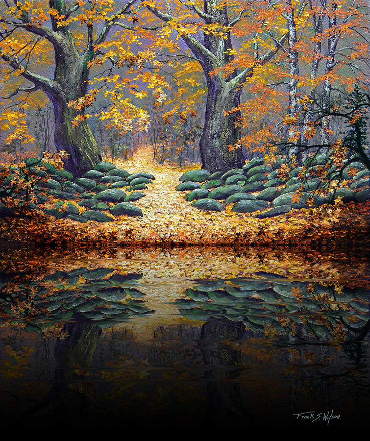 Deep Pond Reflections Painting By Frank Wilson
