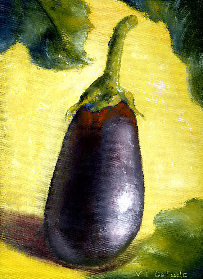 Deep Purple Eggplant Still Life Painting By Lenora De Lude