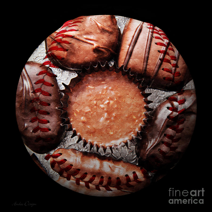 Baseball Photograph - Deep Rich Chocolates Baseball Square by Andee Design