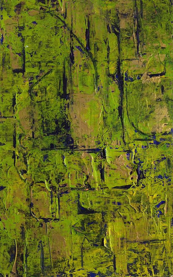 Abstract Painting - Deep South Summer Coming On - Panel II - The Green by Sandra Gail Teichmann-Hillesheim