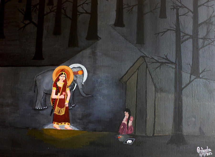 Ganesha Painting - Deepavali Night by Pratyasha Nithin