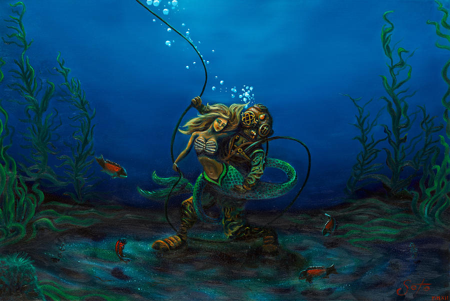 Mkv Painting - Deepsea Love by Andres  Soto