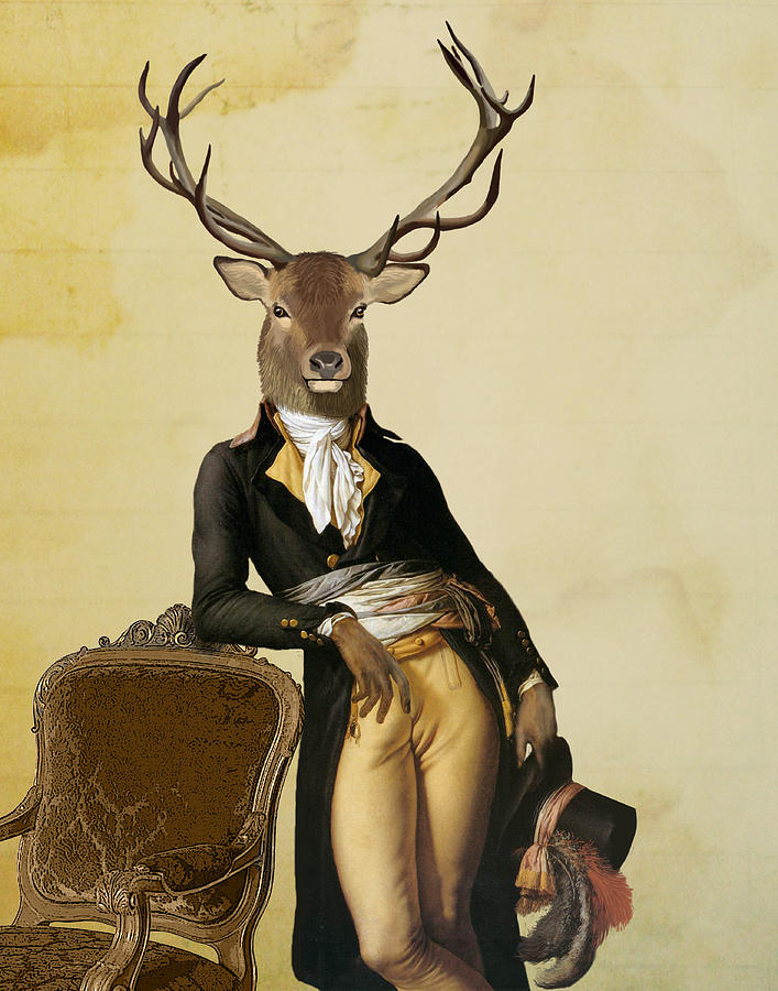 Deer And Chair Digital Art by Loopylolly