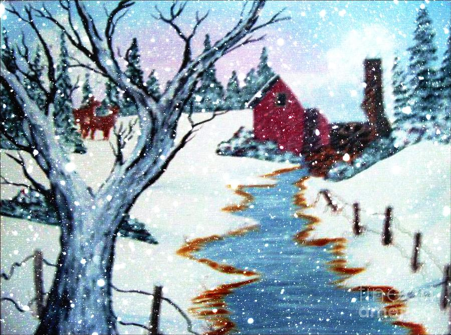 Deer Painting - Deer At The Grist Mill by Barbara Griffin