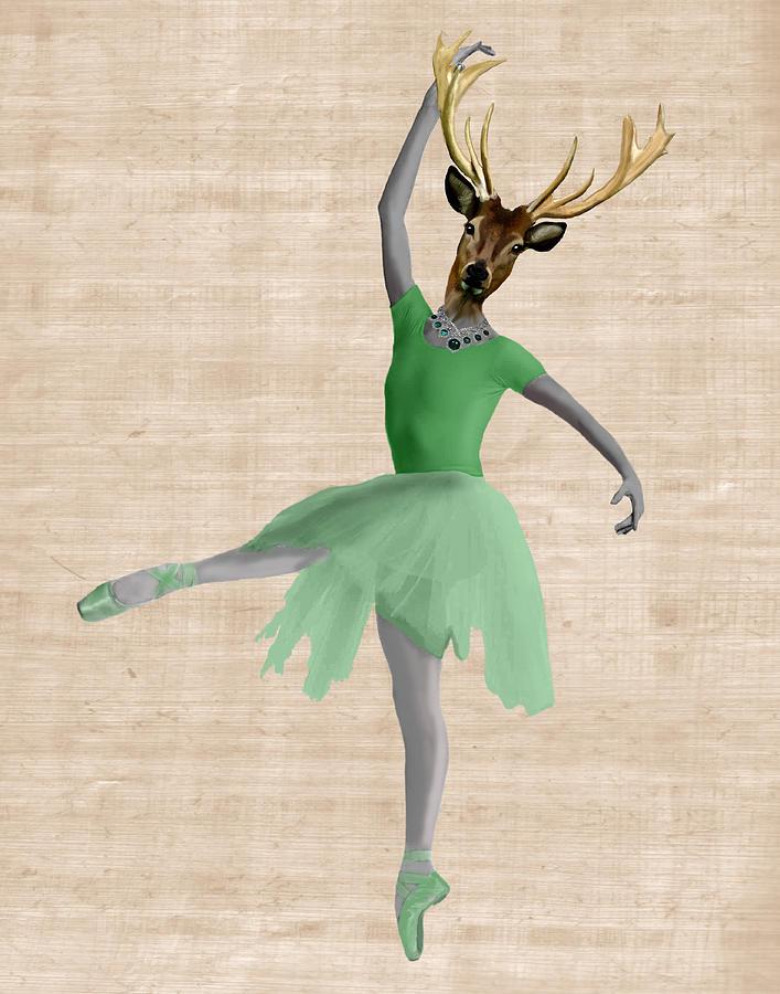 Green Greeting Cards Digital Art - Deer Ballet Dancer Green by Kelly McLaughlan