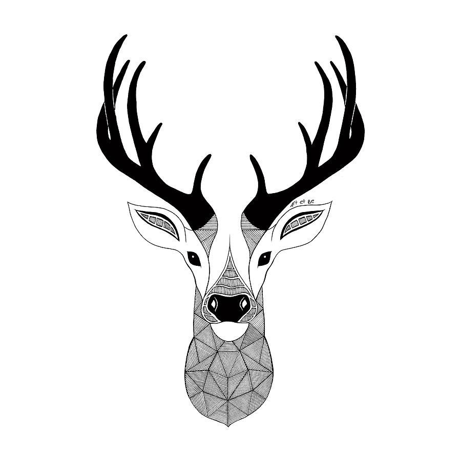 Deer Black And White Digital Art by Art Et Be