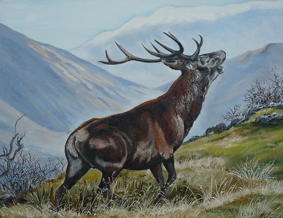 Deer Painting - Deer Country by Val Stokes