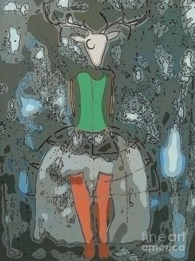 Deer Painting - Deer Girl by Amy Sorrell
