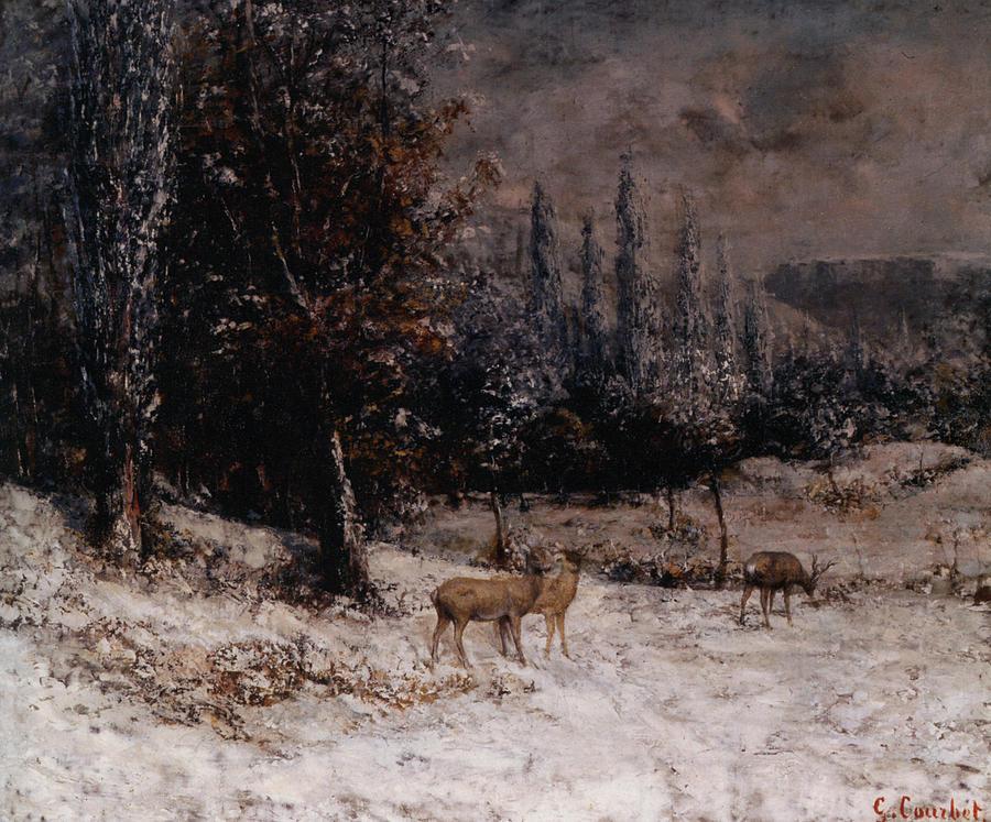 Chevreuils Dans La Neige Digital Art - Deer In The Snow by Gustave  Courbet