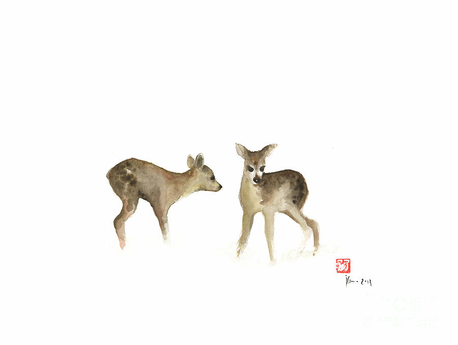 deer nature brown colors earth animal animals pet pets forest wild watercolor painting painting by mariusz szmerdt deer nature brown colors earth animal animals pet pets forest wild watercolor painting by mariusz szmerdt