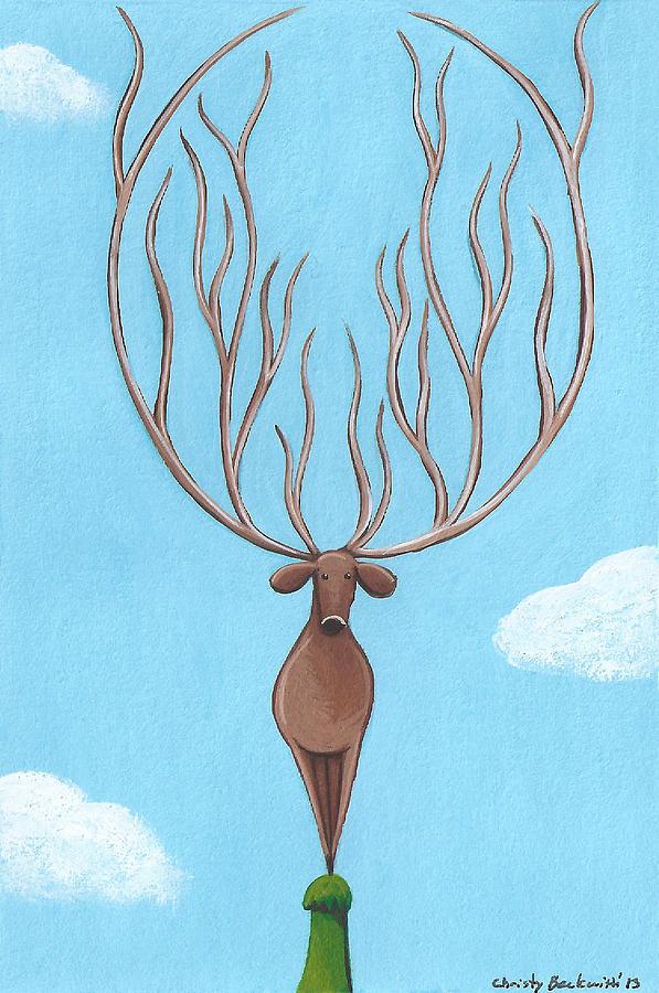 Deer Painting - Deer Nursery Art by Christy Beckwith