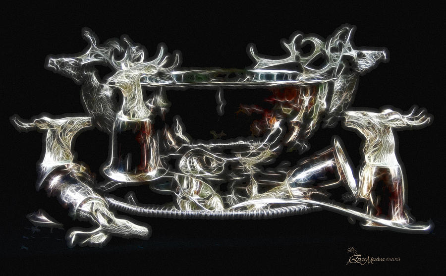 Punch Bowl Photograph - Deer Punch Bowl Set by EricaMaxine  Price