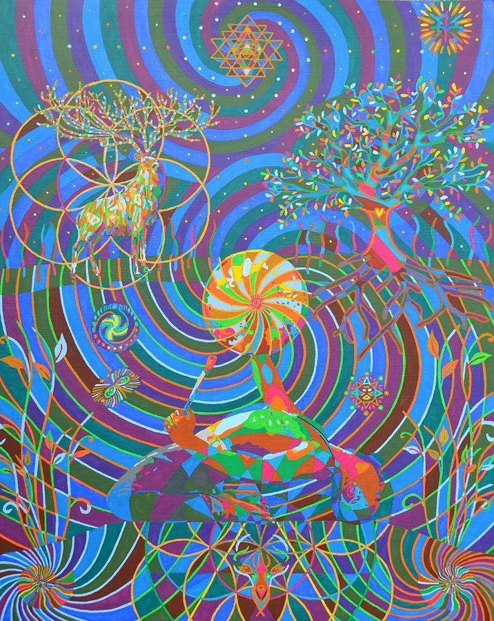 Deer Digital Art - Deer todem - 2014 by Karmym