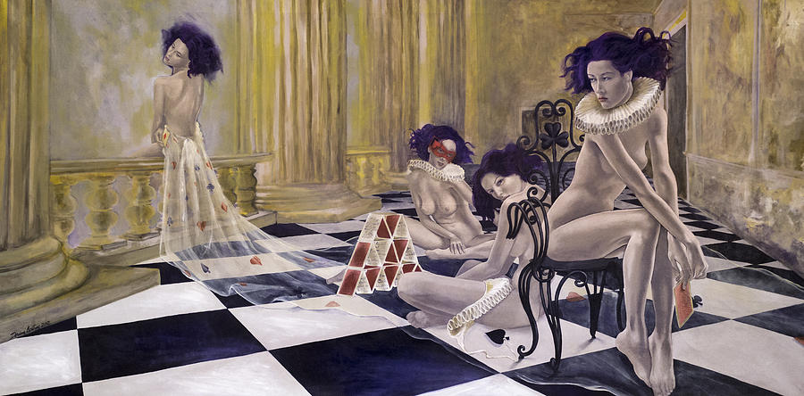 Nudes Painting - Defenceless by Dorina  Costras