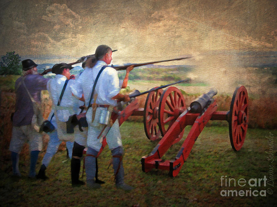 Battle Digital Art - Defending Bemis Heights 1777 by Lianne Schneider