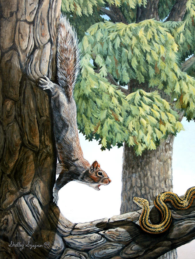 Wildlife Painting - Defending the Nest by Shelley Shayner