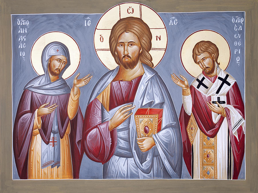 Icon Painting - Deisis Jesus Christ St Anastasios And St Eleftherios by Julia Bridget Hayes