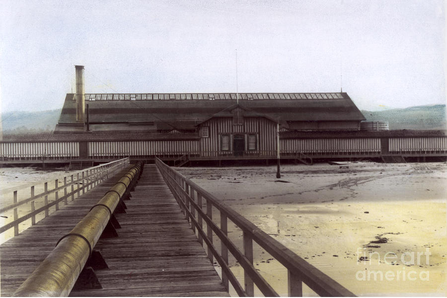 Del Monte Photograph - Del Monte Bathhouse From Pier California  Circa 1890 by California Views Archives Mr Pat Hathaway Archives