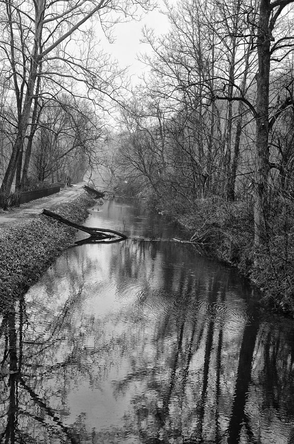 Delaware Photograph - Delaware Canal In Black And White by Bill Cannon
