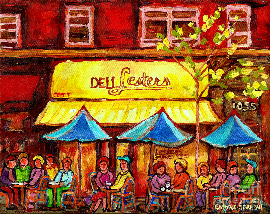 Deli Lesters Smoked Meat Paris Style Sidewalk Cafe Bistro Paintings ...