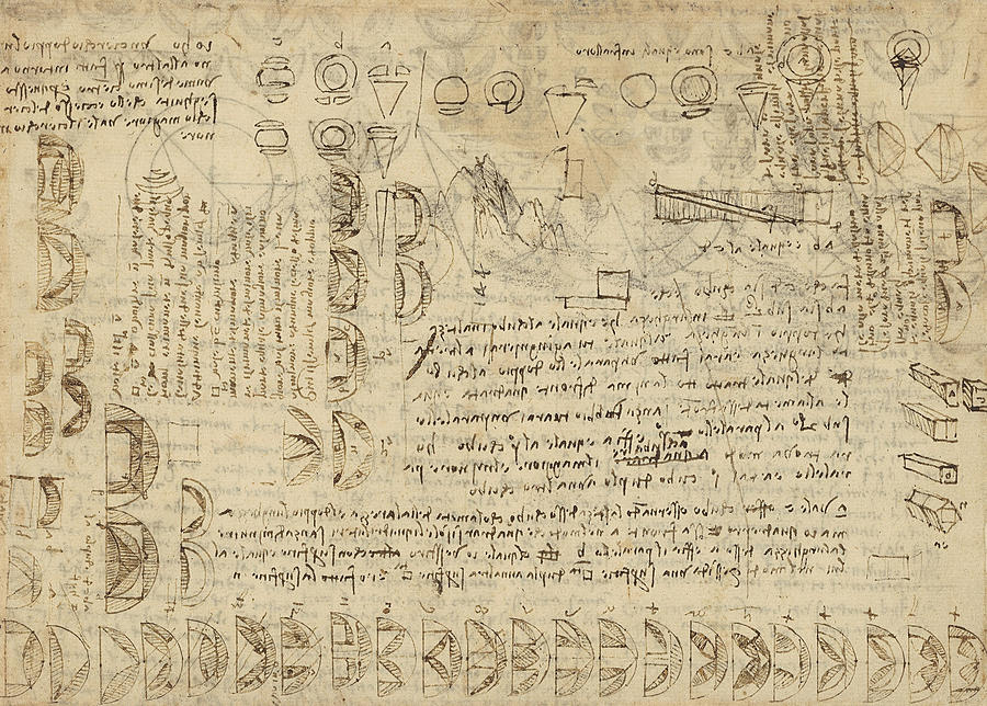 Leonardo Drawing - Delian Problem Or Doubling Cube Equivalence Among Various Parts Of Circle From Atlantic Codex  by Leonardo Da Vinci