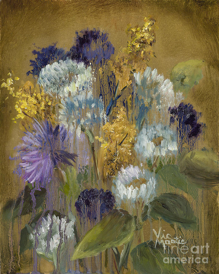 Flower Painting - Delicate Aroma II -unfarmed-with Gold Leaf By Vic Mastis by Vic  Mastis