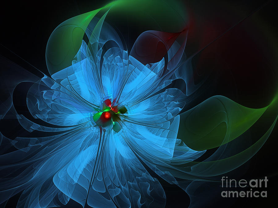 Abstract Digital Art - Delicate Blue Flower-fractal Art by Karin Kuhlmann