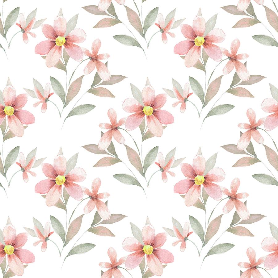 Delicate Floral Background Watercolor Seamless Pattern 43 By Ogri
