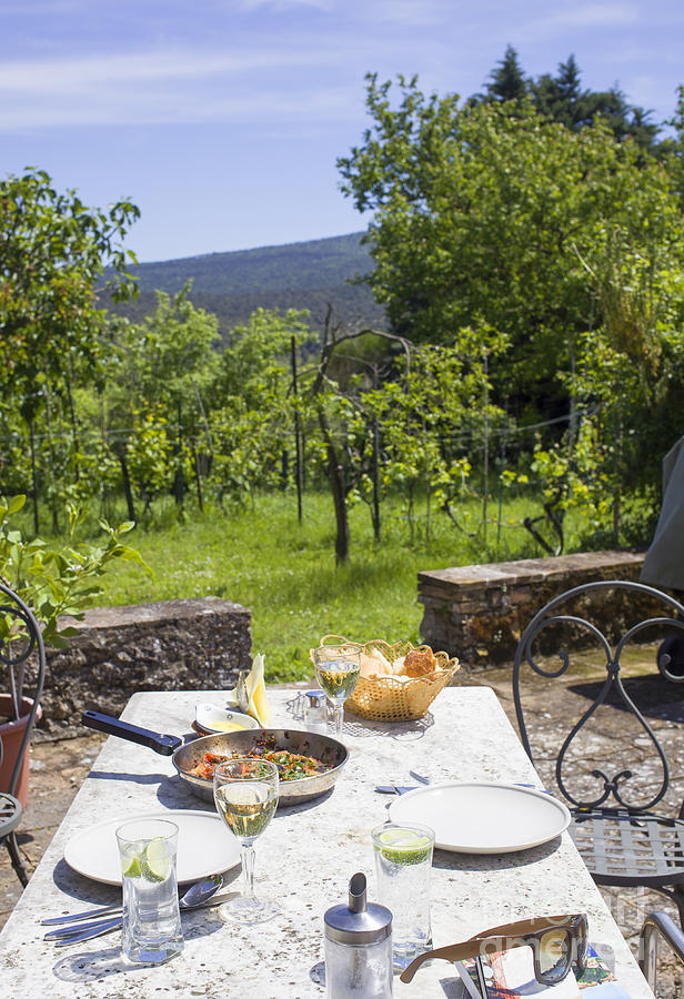 Lunch Photograph - Delicious Italian Lunch In Garden by Patricia Hofmeester