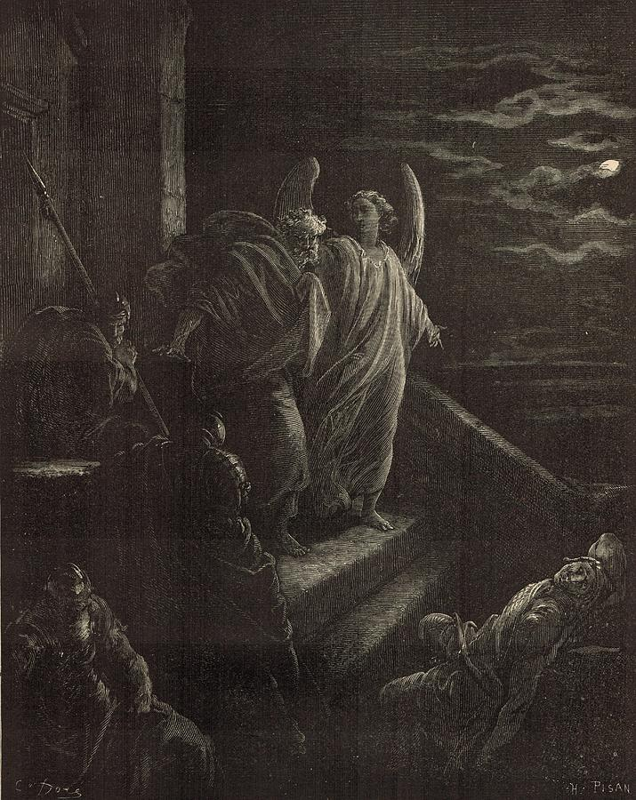 Biblical Drawing - Deliverence Of St. Peter by Antique Engravings