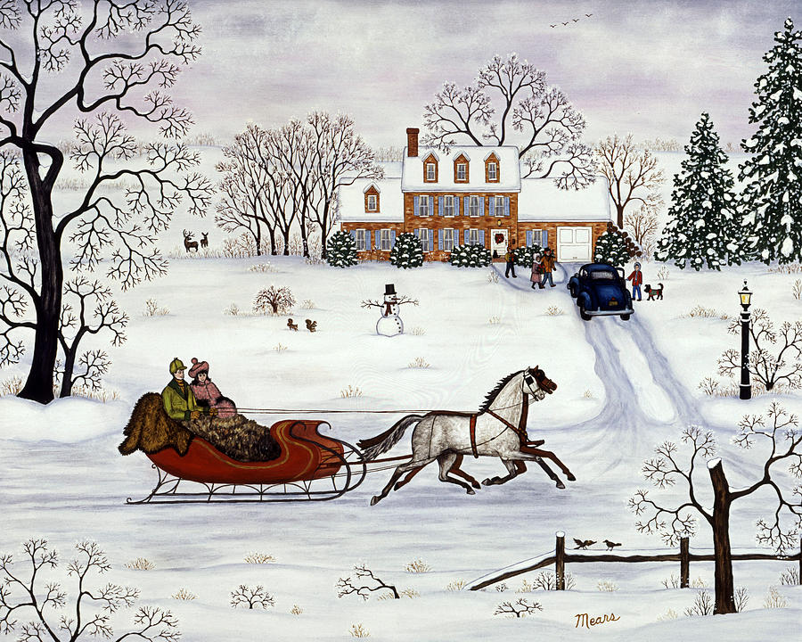 Snow Scene Painting - Delivering Gifts by Linda Mears