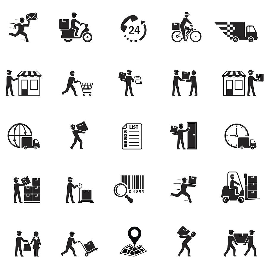 Delivery Icons Drawing by AlonzoDesign