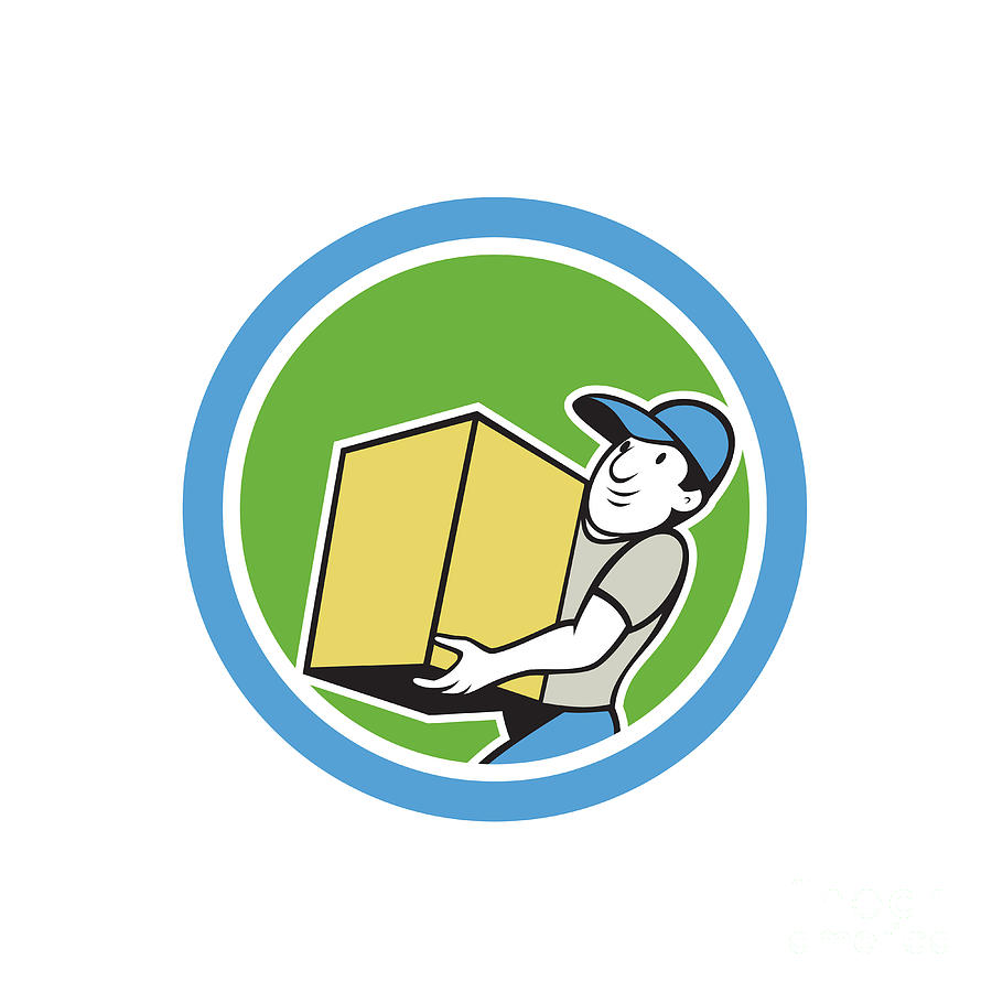 Deliver Digital Art - Delivery Worker Carrying Package Cartoon by Aloysius Patrimonio