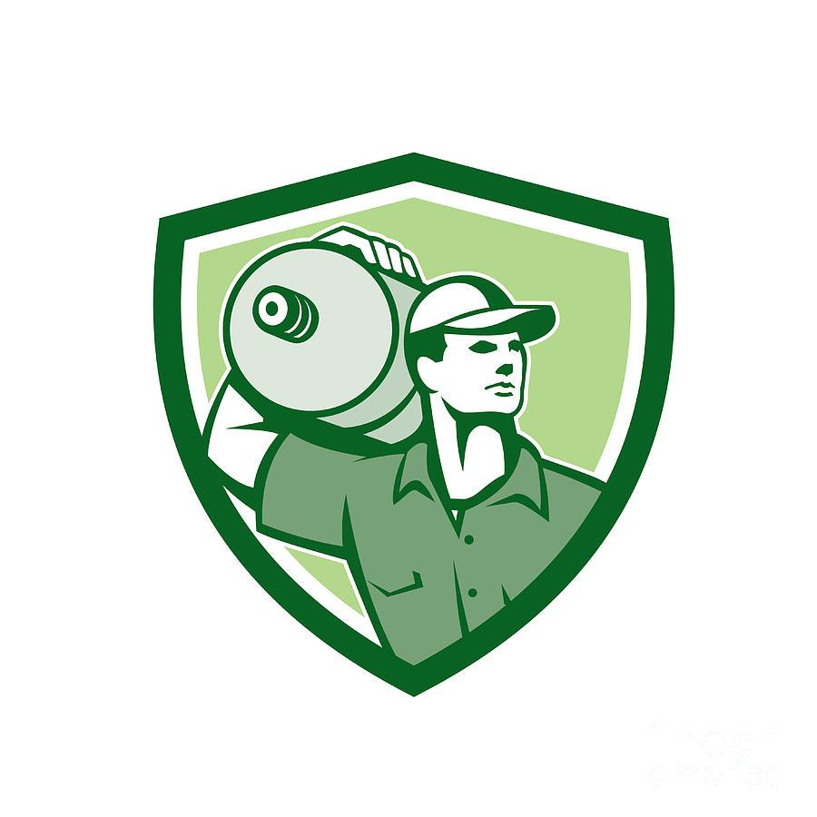 Deliver Digital Art - Delivery Worker Water Jug Shield Retro by Aloysius Patrimonio