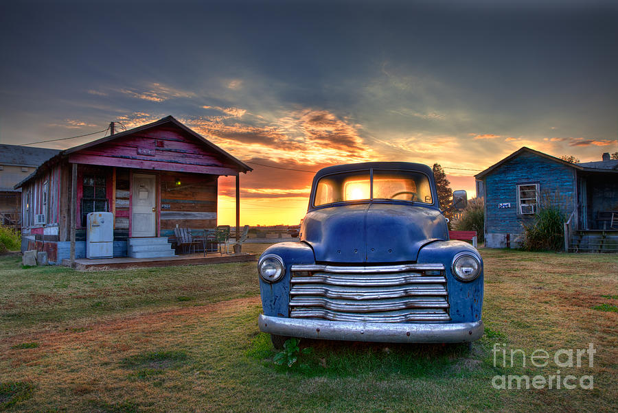 Delta Blue - Old Blue Chevy Truck in the Mississippi Delta by T Lowry Wilson