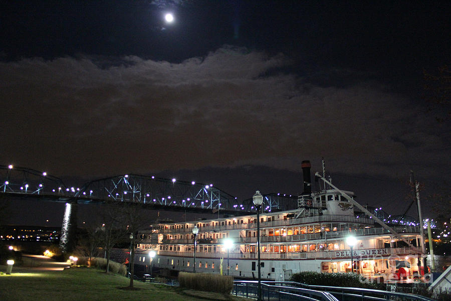 Delta Queen Steamboat Photograph - Delta Queen Under A Full Moon by Kathy  White