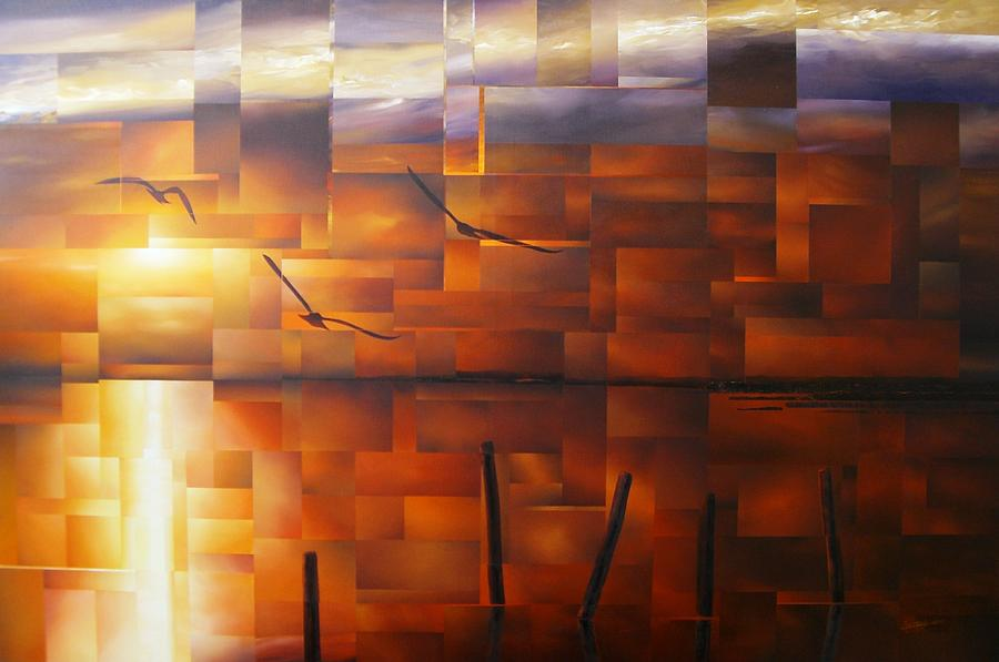 Abstract Painting - Delta Sunset by Laurend Doumba