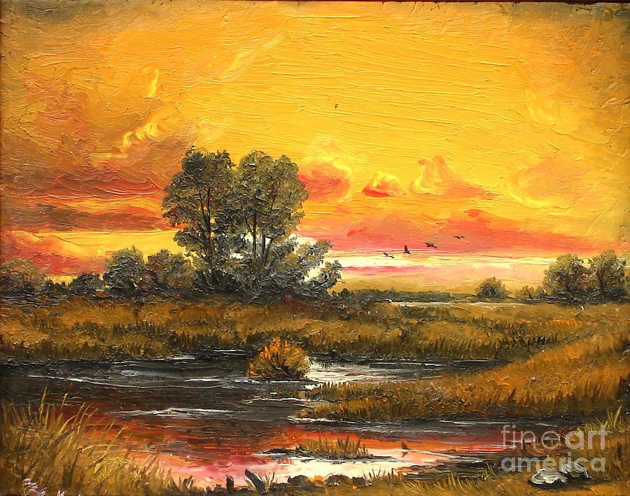 Sunset Painting - Delta Sunset by Sorin Apostolescu