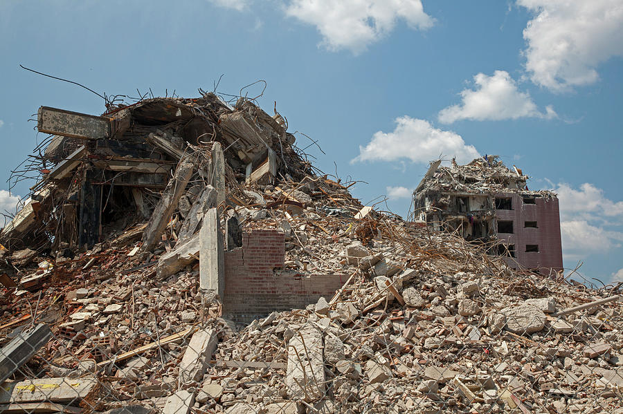 Projects Photograph - Demolition Of Detroit Housing Towers by Jim West