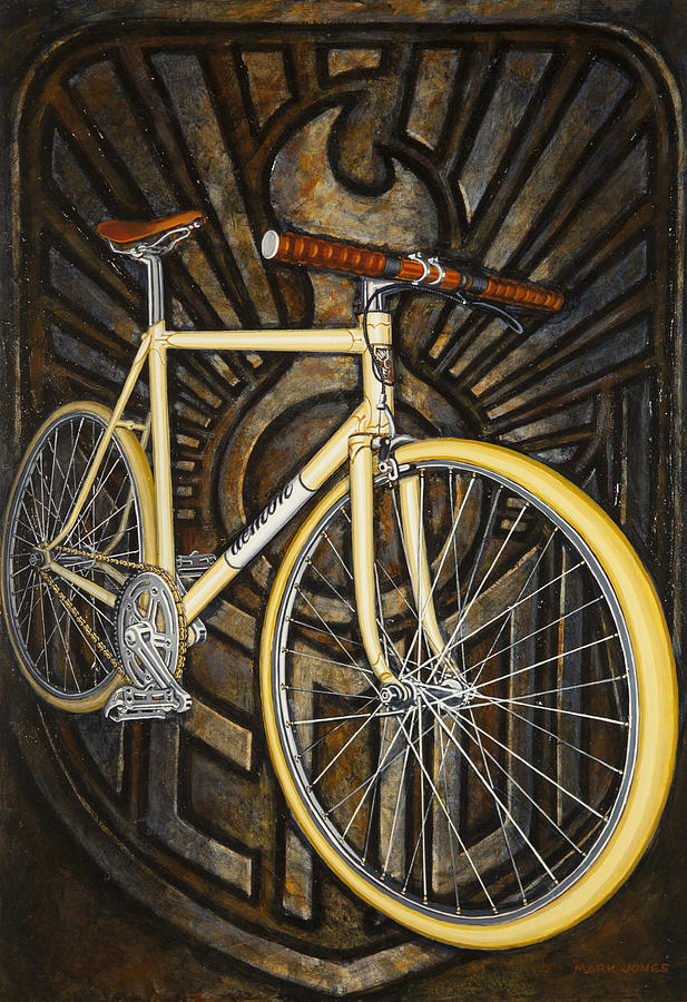 Bicycle Painting - Demon Path Racer Bicycle by Mark Jones