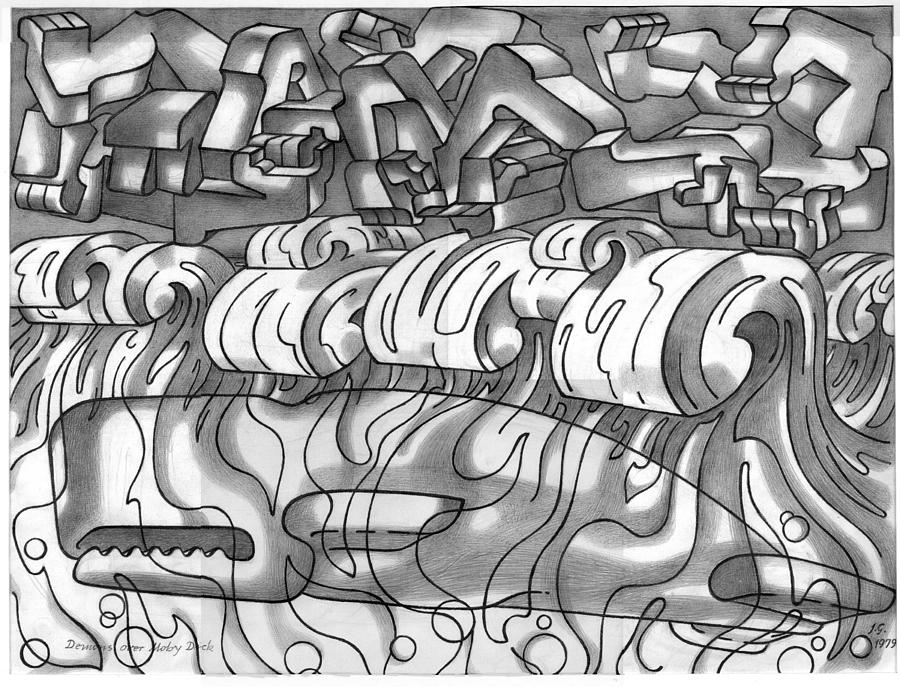 Pencil Drawing - Demons Over Moby Dick by Johannes VON GUMPPENBERG