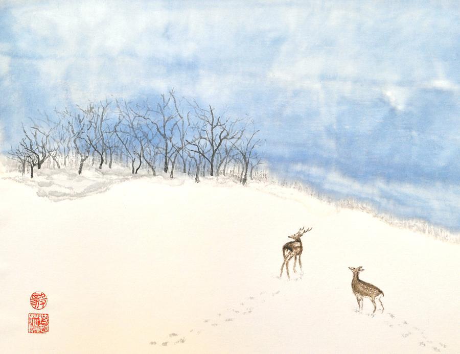 Japanese Painting - Demure Deer by Terri Harris